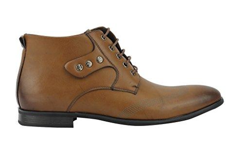 Smart Casual Italiano da Derby Brown alla scarpe in nero Designer pelle lacci caviglia Nuovo uomo con marrone sintetica z8wdvvPq