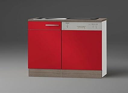 idealShopping GmbH Spülenschrank-Set mit Arbeitsplatte SPGSSET-9 in rot glänzend