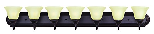 Maxim 8016WSOI Essentials 7-Light Bath Vanity, Oil Rubbed Bronze Finish, Wilshire Glass, MB Incandescent Incandescent Bulb , 40W Max., Damp Safety Rating, Standard Dimmable, Opal Glass Shade Material, Rated Lumens