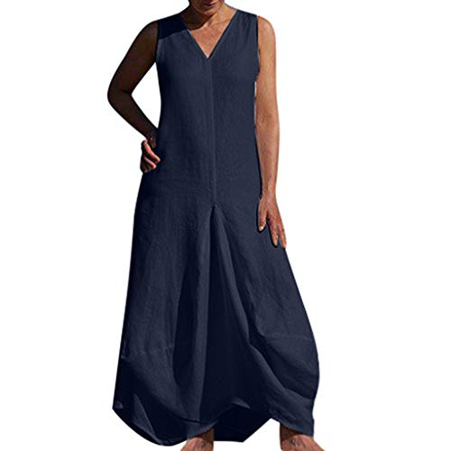 Women's Sexy Fashion Solid Color Deep V-Neck Sleeveless Dress Navy -