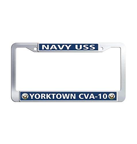 Yorktown Vanity - Nuoousol U.S Navy USS Yorktown CVA-10 Car tag Frame, Vanity Stainless Steel Metal Waterproof Car Tag Holder with Bolts Washer Caps for US Standard