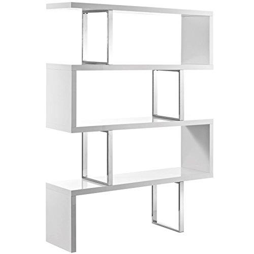 Modern Contemporary Urban Living Lounge Room Bookcase Bookshelf Shelf Rack Stand, White, Wood ()