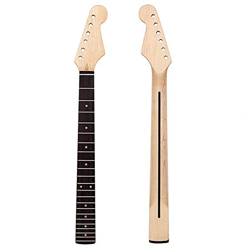 ELEC TECH Electric Guitar Neck Fender Strat Fretboard 22 Fret Guitar Neck Replacement White Abalone Mark Dot Inlay ()