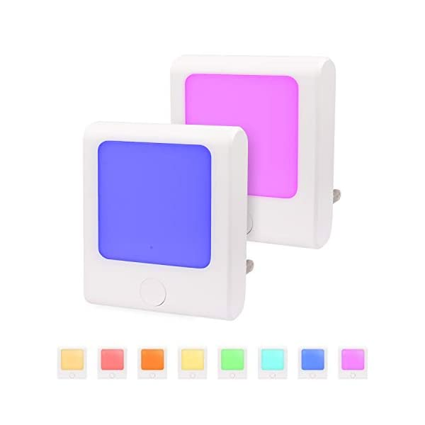 Night Light for Kids, Color Changing & Dimmable Warm White Plug-in LED Nightlights Dusk to Dawn Sensor, for Baby Room, Bedroom, Bathroom, Hallyway, Kitchen (2 Pack)
