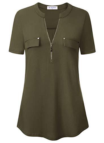 Bulotus Ladies Tops and Blouses Women's Elegant Regular Fit Short Sleeve Party Blouses Green XL (Best Blouses For Apple Shape)