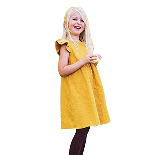 MOGOV Toddler Kids Baby Girl Summer Solid Ruffled Fly Sleeve Vintage Princess Dresses Clothes Yellow ()