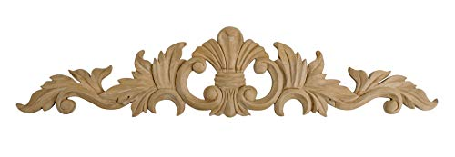 American Pro Decor 2-5/8 in. x 12 in. x 3/8 in. Unfinished Small Hand Carved North American Solid Cherry Wood Onlay Acanthus Wood -