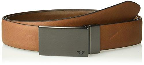 Dockers Men's Feather Edge Reversible Plaque Belt-tan/brown, 40 - Edge Plaques