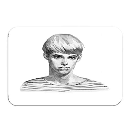 wuhandeshanbao Outside Shoe Non-Slip Color Dot Doormat Watercolor Fashion Portrait Young Man Striped Hand Drawn Blondie boy face White Black Mats Entrance Rugs Carpet 16 24 inch
