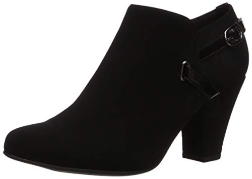 Easy Street Women's Freda Dress Shootie Ankle Boot, Black Suede, 10 W US