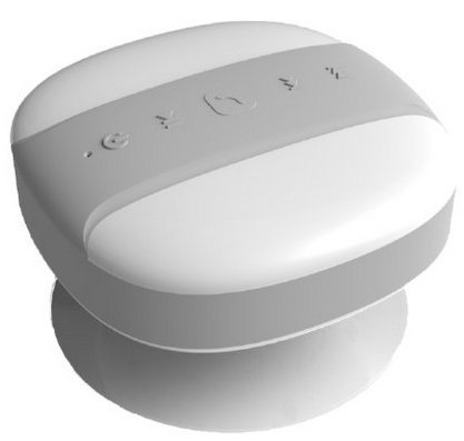 Bluetooth Waterproof Speaker - Portable In Car Speakerphone - by PearVibes - FM Radio, 4-6 Hour Battery Life, Shower Radio, USB Rechargable.. (White)
