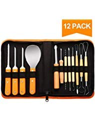 12 Pieces Professional Pumpkin Carving Tools Kit - Easily Carve Sculpt Halloween Jack-O-Lanterns, Knife, 18 Cuts, Scoops, Saws, Loops - with Storage Carrying Case