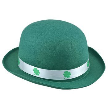 Luck of the Irish St. Patrick's Day Kelly Green Derby Bowler Hat With Shamrock (Doc Brown Outfit)