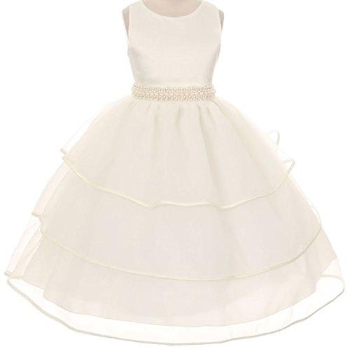 ivory a line chiffon and organza flower girl pageant dress - 5