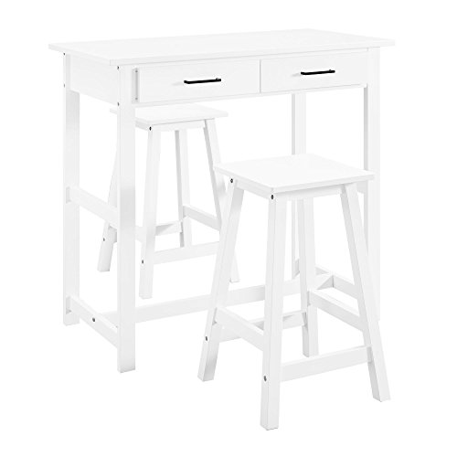 Dorel Living 3-Piece Pub Set, White (Table Set And Stool Breakfast Bar)