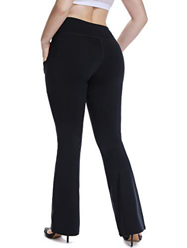 YOHOYOHA High Waist Plus Size Yoga Pants Pockets Bell Bottom Flare Bootcut Dress Pants Best Thick 3X, Black ()