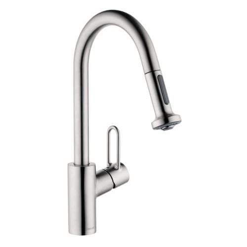 Hansgrohe 04702 Talis Loop Single Handle Pull-Down Spray Kitchen Faucet with Non, Steel Optik by Hansgrohe