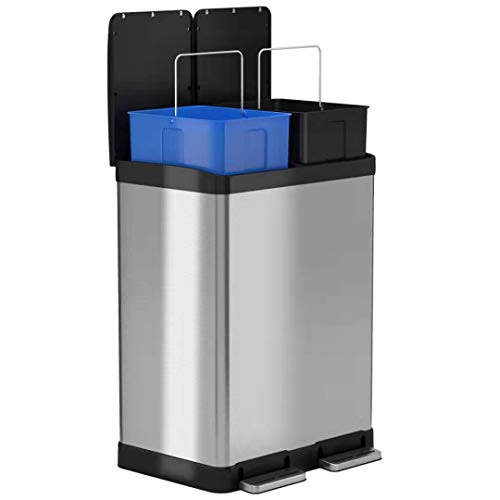 (iTouchless 16 Gallon Dual Step Trash Can & Recycle, Stainless Steel Lid and Bin Body with Handle, Includes 2 x 8 Gallon (30L) Removable Buckets, Soft-close and Airtight Lid)
