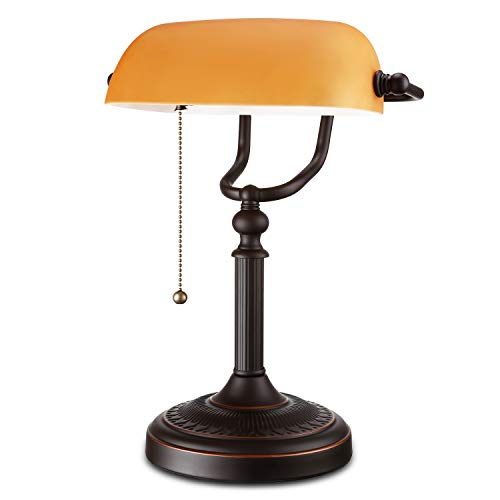 ESCENA Traditional Banker's Lamp, Antique Style Matte Amber Glass Desk Lighting Fixture, Oil Rubbed Bronze Base Piano Lamp, Metal Beaded Pull Chain Switch ()
