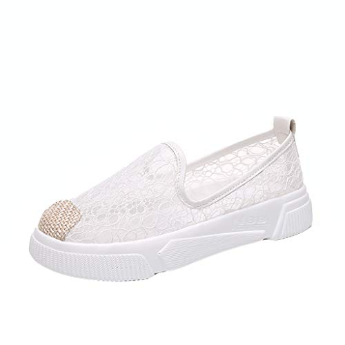 Orangeskycn Summer Women Loafers Ladies Neutral Lace Slip On Shallow Flat with Casual Fisherman Shoes Working Single Shoes
