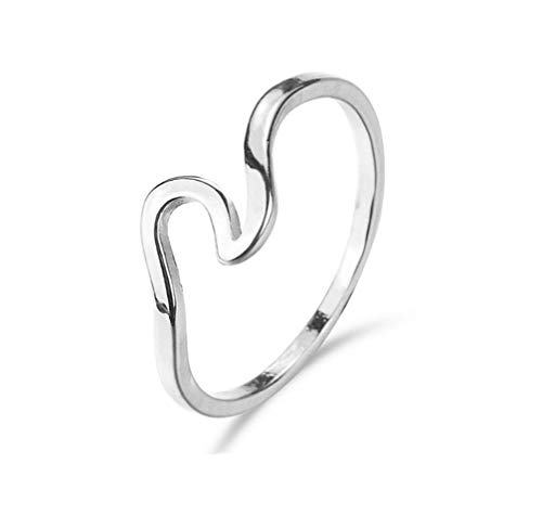 Stainless Steel Wave Ring - Myhouse Stainless Steel Wave Ring Simple Titanium Steel Ring Wedding Engagement (8, Silver Color)