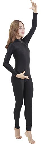 Speerise Girls Kids Spandex Long Sleeve Full Body Unitard Costume for Child, Black, 8-10 ()