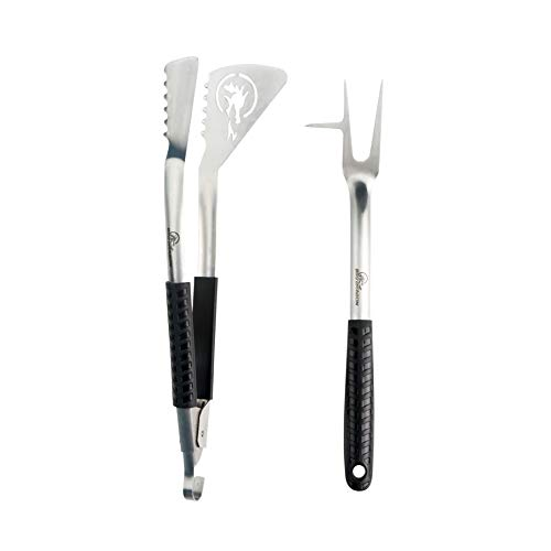 BBQ Dragon BBQ Utensil Tool Set Grilling Tongs, Spatula, Fork, Pigtail Flipper, Combined in 2 Barbecue Grilling Accessories, Heavy-Duty Grill Tools Set