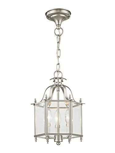 Livex Lighting 4403-91 Home Basics 3 Light Brushed Nickel Hanging Lantern or Flush Mount Chandelier with Clear Beveled Glass