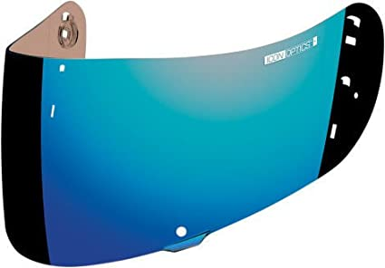 6cceeab3 Image Unavailable. Image not available for. Color: ICON OPTICS MOTORCYCLE  AIRMADA HELMET SHIELD VISOR FOG FREE BLUE CHROME