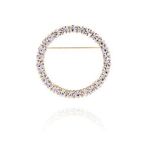 YYBONNIE Women's Elegant Cubic Zirconia Pearl Gold Open Ring Circle Wreath Brooch Pin Cardigan Scarf Lapel Pin Party Wedding Jewelry (Gold 33MM CZ Ring) ()