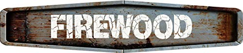 Any and All Graphics FIREWOOD Rustic weathered metal look Diamond shaped 4