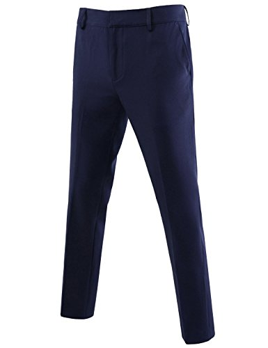 NEARKIN NKNKSL812 Mens Comfort Flex Waist Slim Fit Casual Pants Navy 35W/29L(Tag Size XL) by NEARKIN