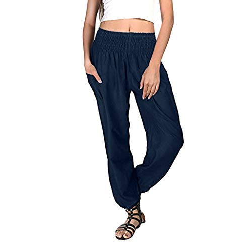 (CCatyam Plus Size Harem Pants for Women, Trousers Yoga Solid Loose Long Beach Casual Summer Fashion Navy)