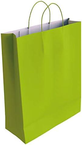 50 x Bolsa de Papel Kraft Rojo con Asas Rizadas 37 x 27 x 12 cm CA3032