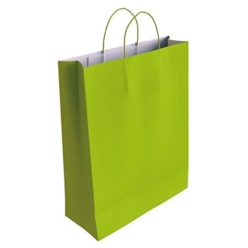 [CA4033] 50 x Bolsa de Papel Kraft Pistacho con Asas Rizadas (37 x 27 x 12 cm)