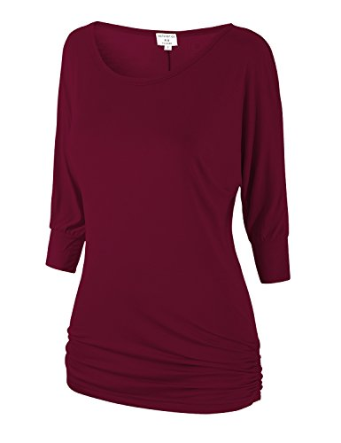 Match Women's 3/4 Sleeve Drape Top with Side Shirring(140 Wine red,Medium)