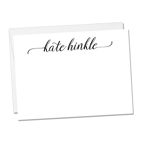 Personalized Flat Notecard Set - Set of 10 Fancy Name Notecards (Flat Notecard 1)