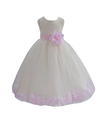 Ivory Flower Girl Dress Pigeon Blue Persimmon Midnight Peach Yellow Gray 814S 8