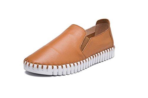 Bombas eur35uk3 Tacón Mujeres Moda Zapatos Cabeza Pisos Genuina Primavera Salvaje Perezoso Antideslizantes Ocio De Bajo Señoras Nuevos Eur 39 Otoño Nvxie Pieles Brown Redonda Trabajo Piel Únicos HwFq77x