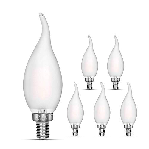 Candelabra LED Bulbs Non-Dimmable 40w Equivalent Frosted Glass Cover E12 LED Bulb Eye Protection Radiation Protection E12 Base Warm White Energy Star ETL and RoHS Certification 6 Pack