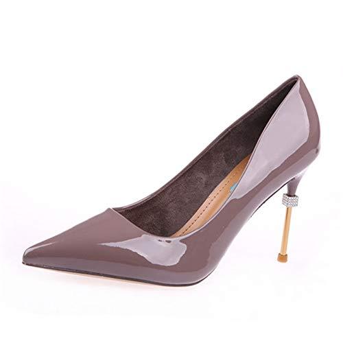 YMFIE Printemps et Automne Simples Dames Chaussures Simples Automne Mode Pointu en Cuir Verni Stiletto Travail Peu Profond Talons Chaussures de Banquet 35 EU B f333ed