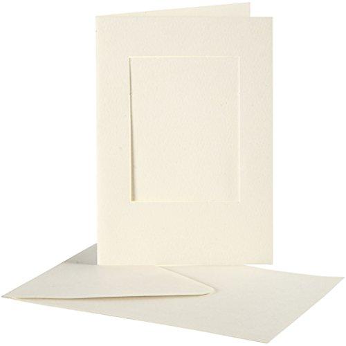 Passepartoutkarten , Kartengröße 10,5x15 cm, off-white, rechteckig, 10 Sets