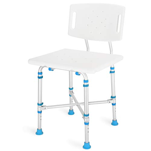Health Line Massage Products Heavy Duty Shower & Bath Chair with Removable Backrest and Extra Large Seat Non-Slip Adjustable 600 lbs Bath Bathtub Bench for Elderly, Disabled, Seniors & Bariatric