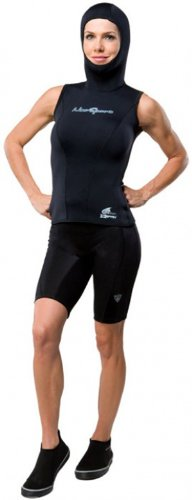 NeoSport Wetsuits Women's XSPAN 5/3mm Hooded Vest, Black, 12 - Diving, Snorkeling & Wakeboarding