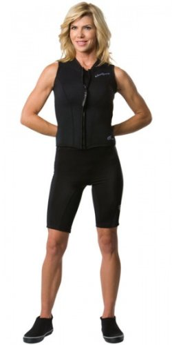 NeoSport Wetsuits Womens Premium Neoprene 2.5mm Zipper Vest, Black, 10 - Diving, Snorkeling & Wakeboarding