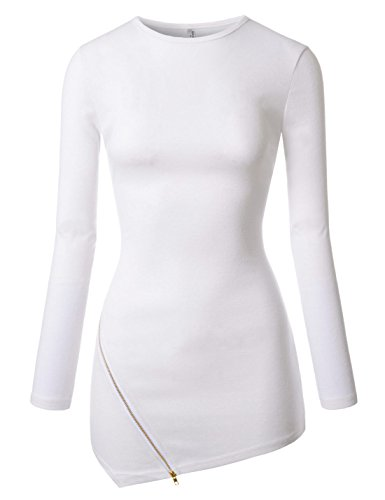NEARKIN (NKNKWZT65) Womens Slim Cut Crewneck Unbalanced Hem Zippered Tshirts WHITE US XXS(Tag size XS) ()
