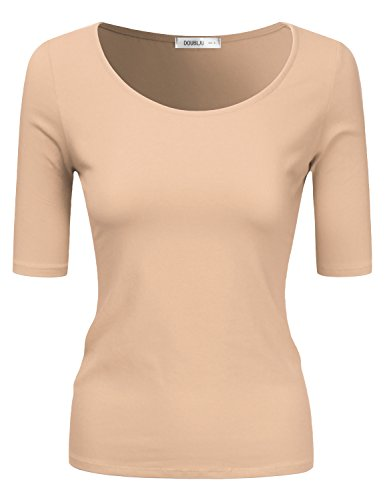 Doublju Sold & Striped Round Neck T-Shirt Top for Women with Plus Size Beige X-Large