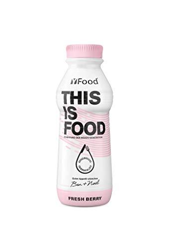 YFood Beere | Laktose- und glutenfreier Nahrungsersatz | 34g Protein, 26 Vitamine und Mineralstoffe | Leckere Astronautennahrung - 25% des Kalorienbedarfs | Trinkmahlzeit, 12 x 500 ml (1 kcal/ml)