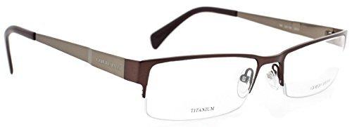 Giorgio Armani Ga730 Color DFK Brown Titanium Semi Rim Eyeglasses Italy Made 53 Made in Italy