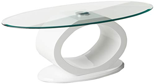 Furniture of America Modine Contemporary Glass Top Coffee Table, White (Oval Coffee Table Glass Small)